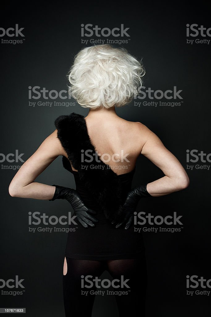 Back view of beauty girl with styled white hair. stock photo