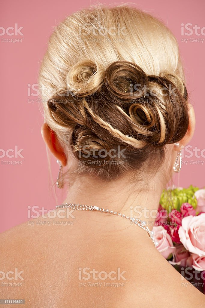 Back view of bride hair bun royalty-free stock photo