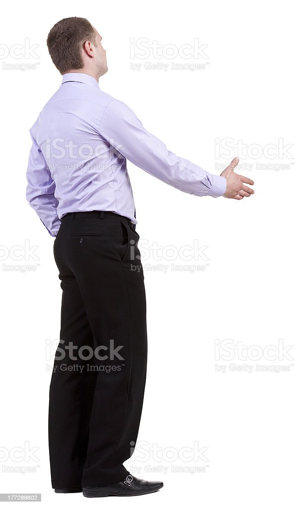 back view of Business man  hand shake royalty-free stock photo