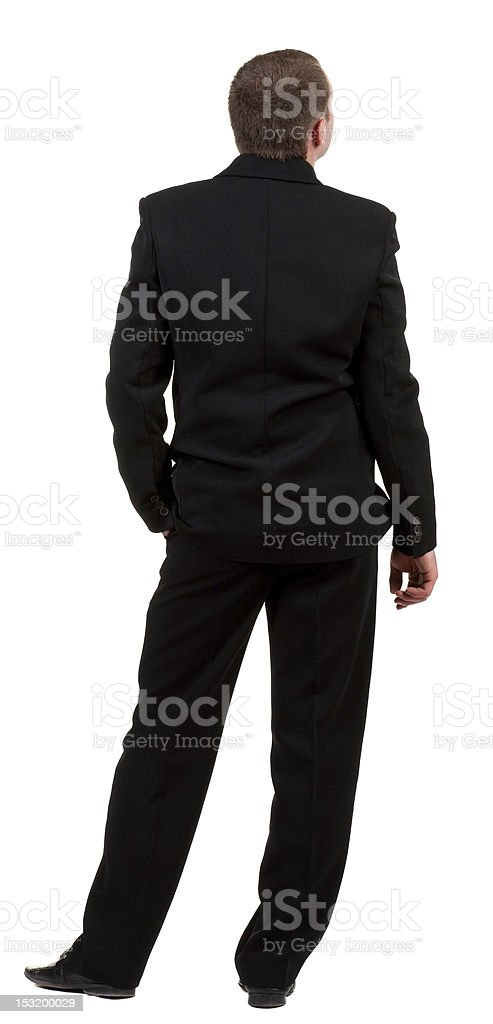 back view of business man in black suit  watching. royalty-free stock photo