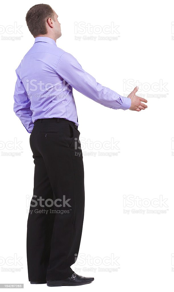back view of business man in shirt shake hands royalty-free stock photo