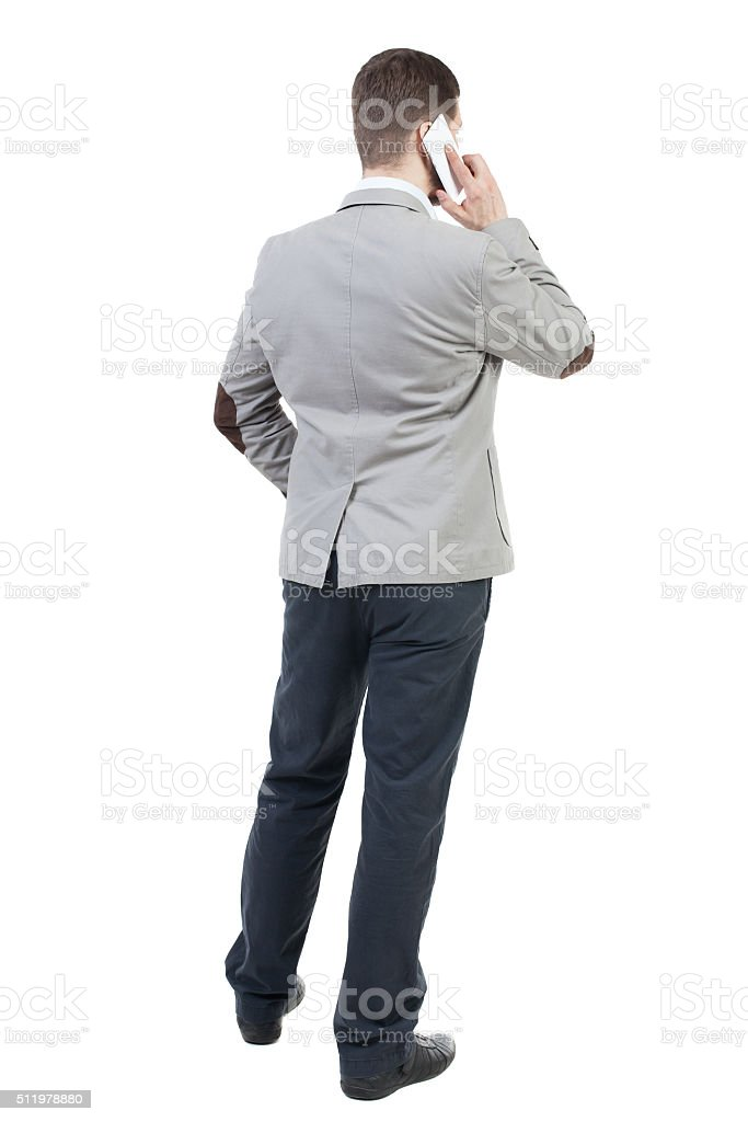 back view of business man in suit stock photo