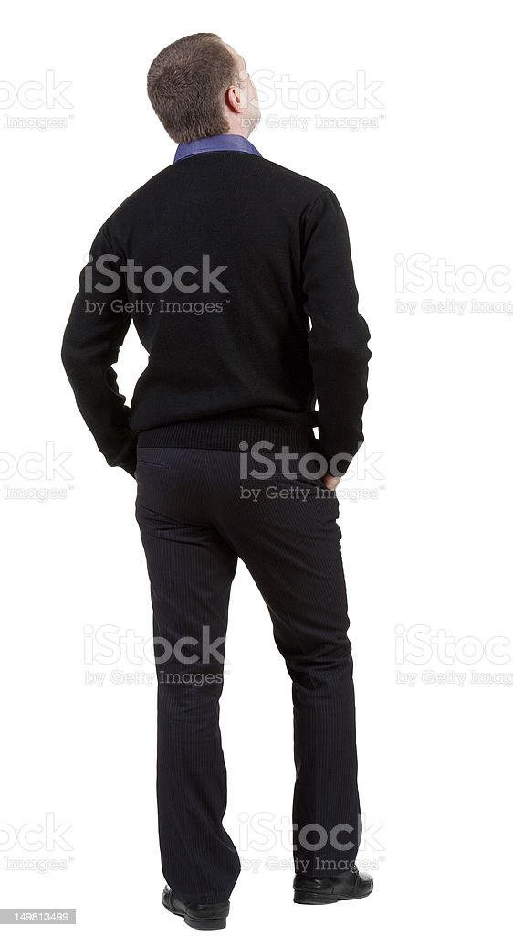 back view of Business man  looks ahead. royalty-free stock photo