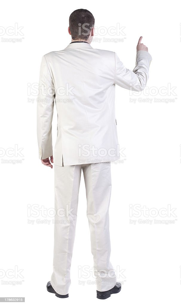back view of Business man  pointing. royalty-free stock photo