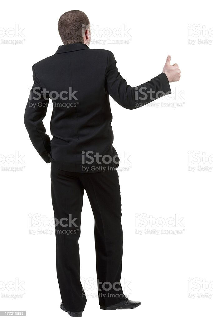 back view of business man thumbs up royalty-free stock photo
