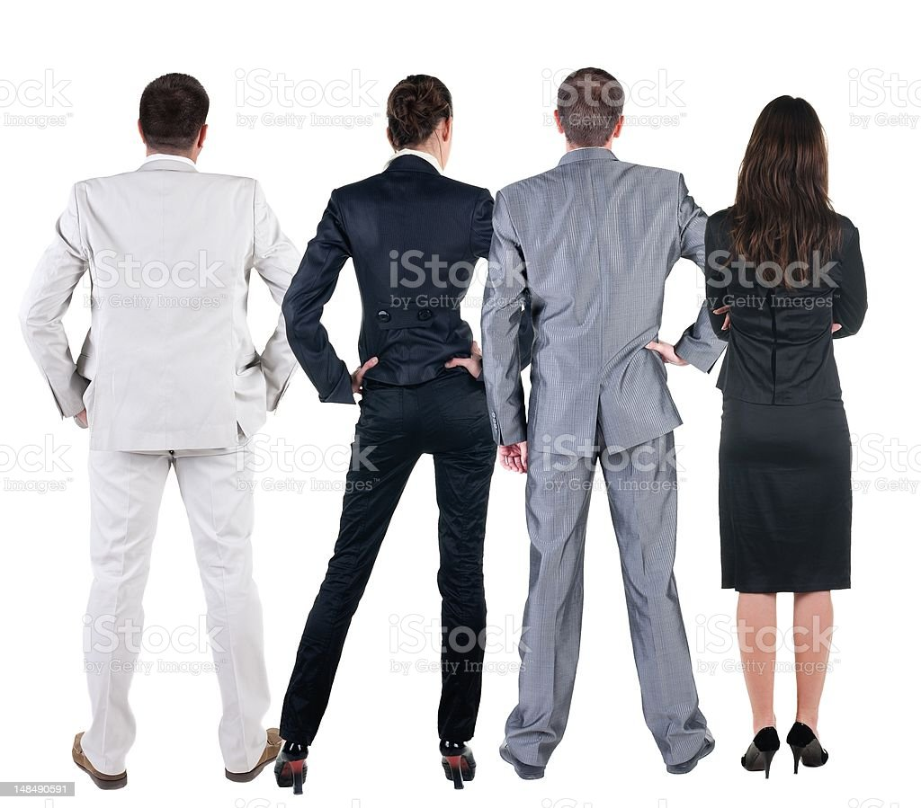 Back view of business people looks at wall. royalty-free stock photo
