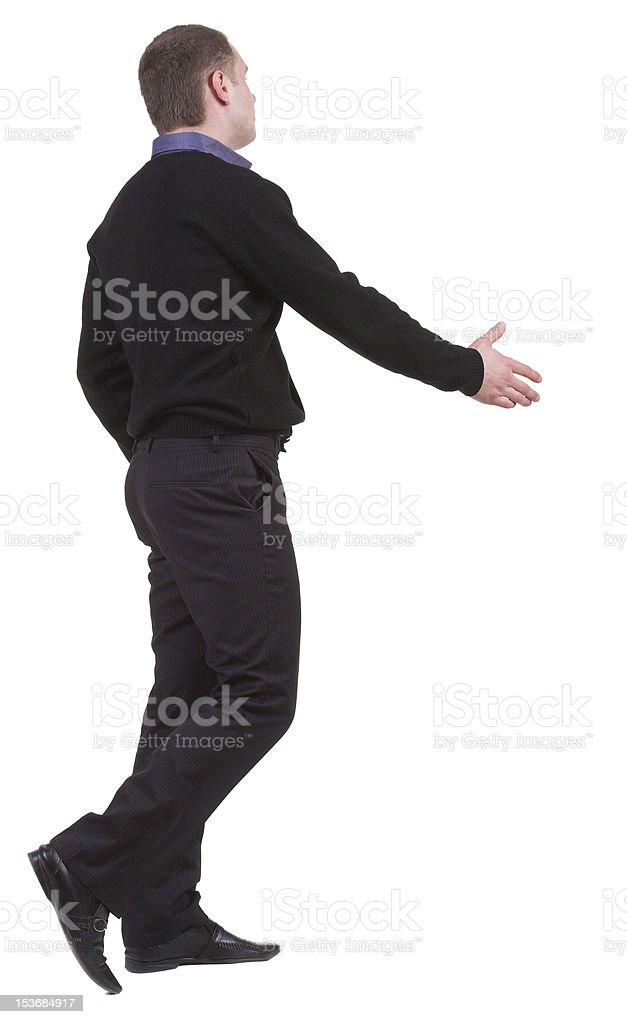 back view of businessman  shake hands royalty-free stock photo