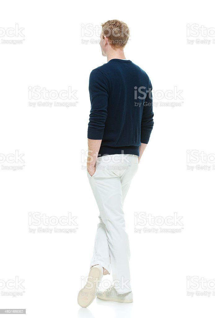 Back view of casual man stock photo