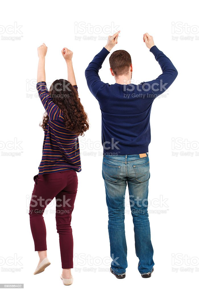 Back view of dancing young couple men and women . Dance stock photo
