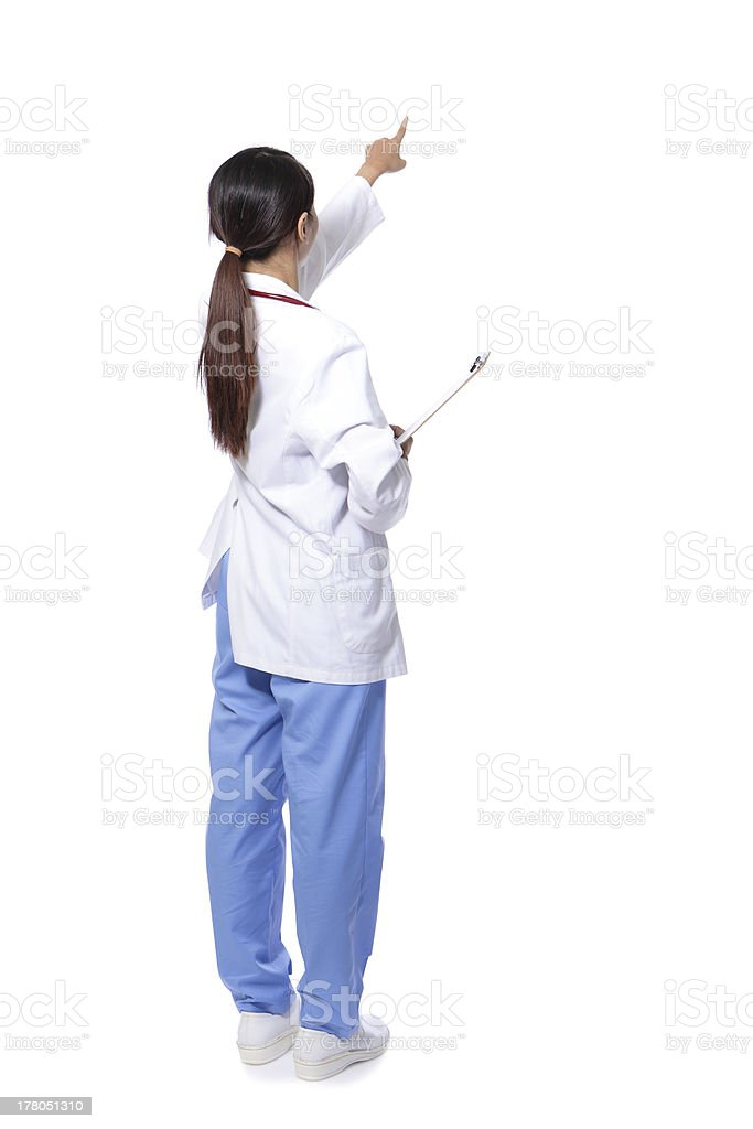 back view of doctor woman finger point royalty-free stock photo