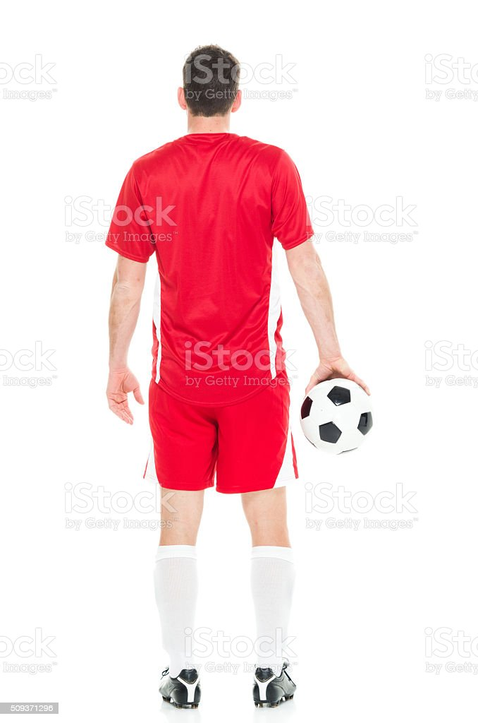Back view of football player stock photo