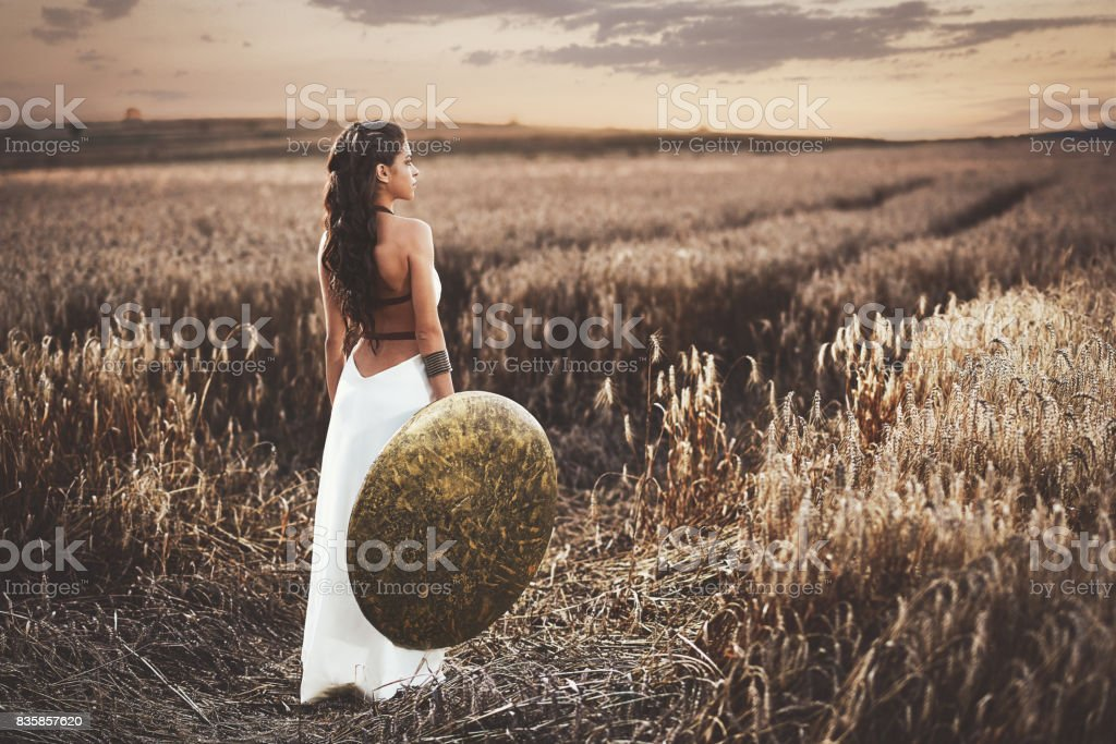 Back view of girl holding shield among grass in field. stock photo