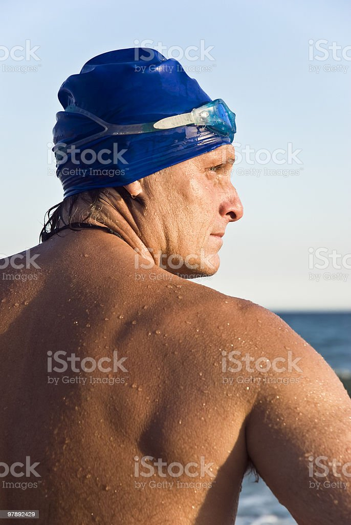 Back view of male swimmer. royalty-free stock photo