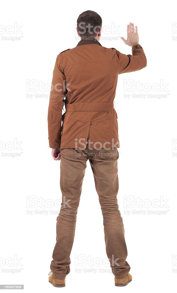 back view of man in jacket royalty-free stock photo