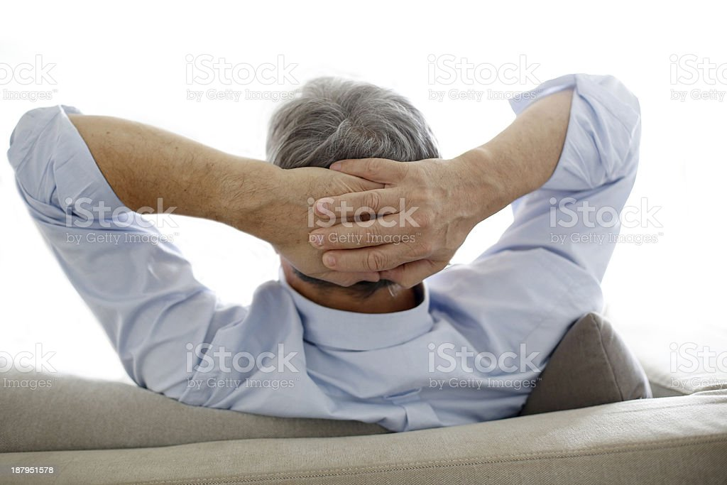 Back view of man in sofa royalty-free stock photo
