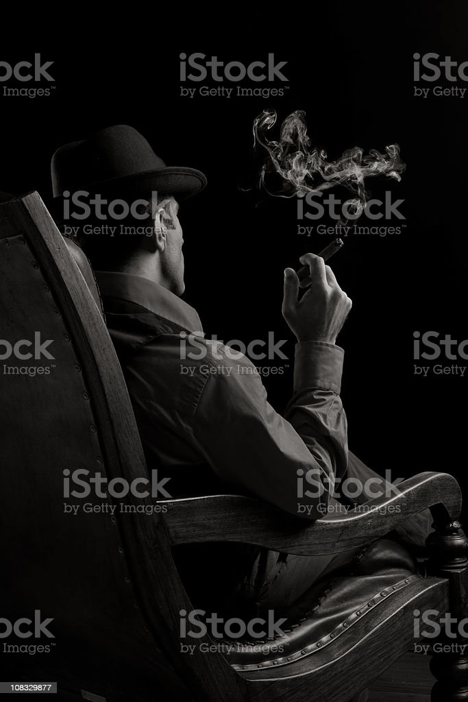 Back View Of Man Sitting On Armchair And Smoking Cigar stock photo