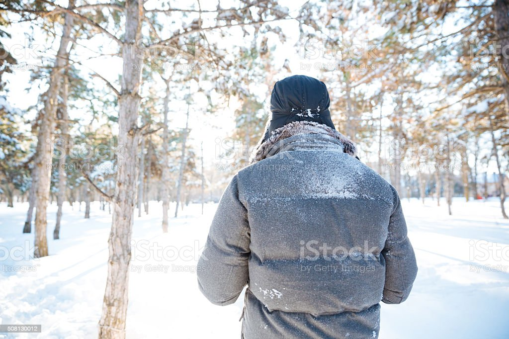 Back view of man walking in winter park stock photo