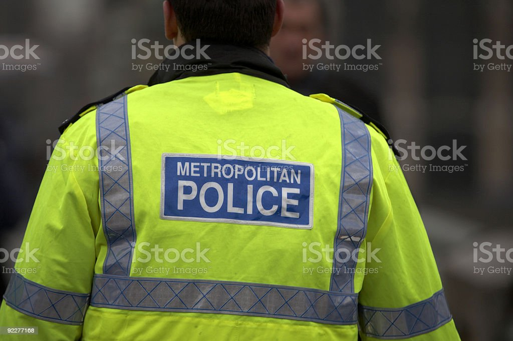 Back view of metropolitan police officer stock photo