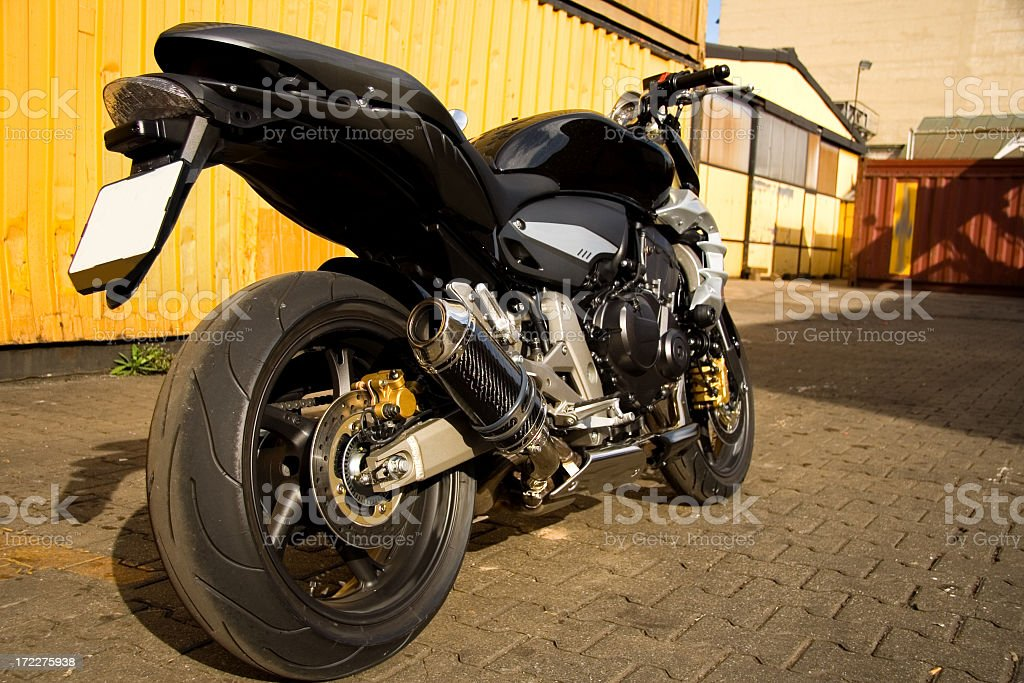 Back View of Motorbike stock photo