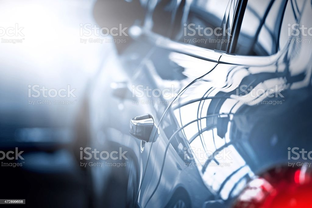 Back view of new automobile stock photo