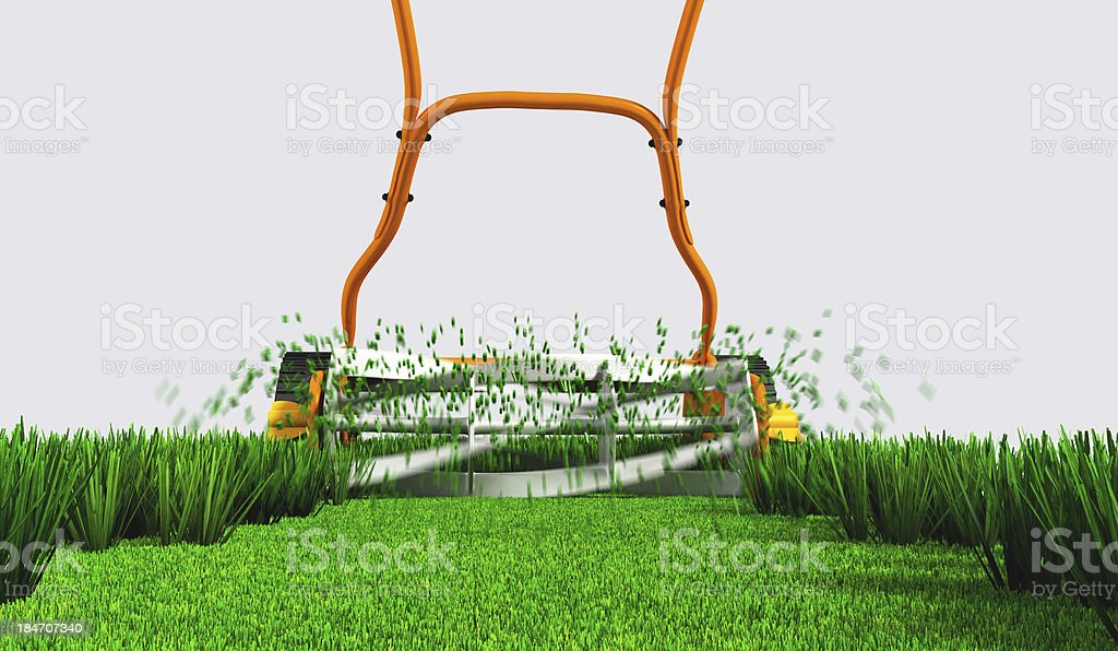 back view of push a lawn mower at work royalty-free stock photo