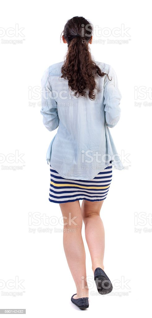 back view of running  woman. stock photo