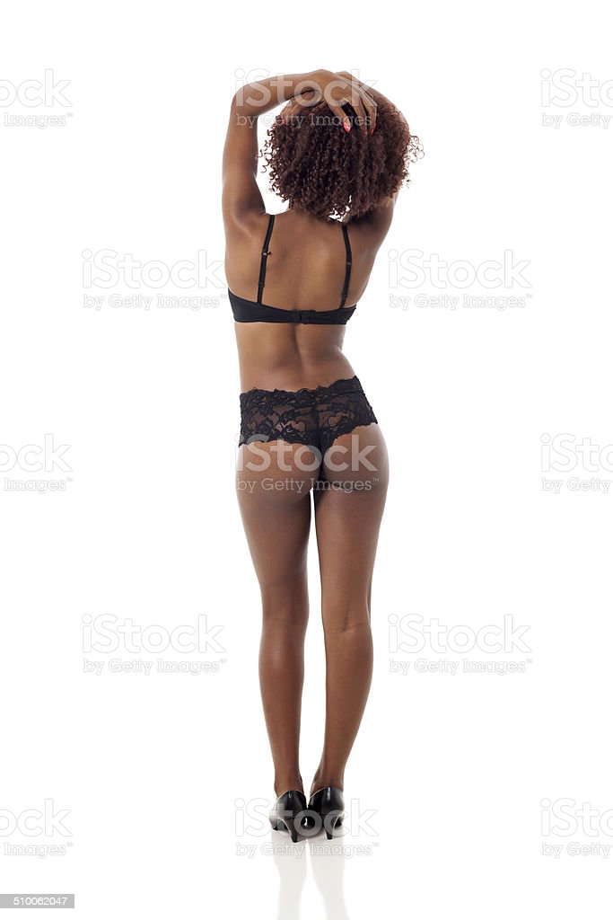 back view of sexy african american woman stock photo