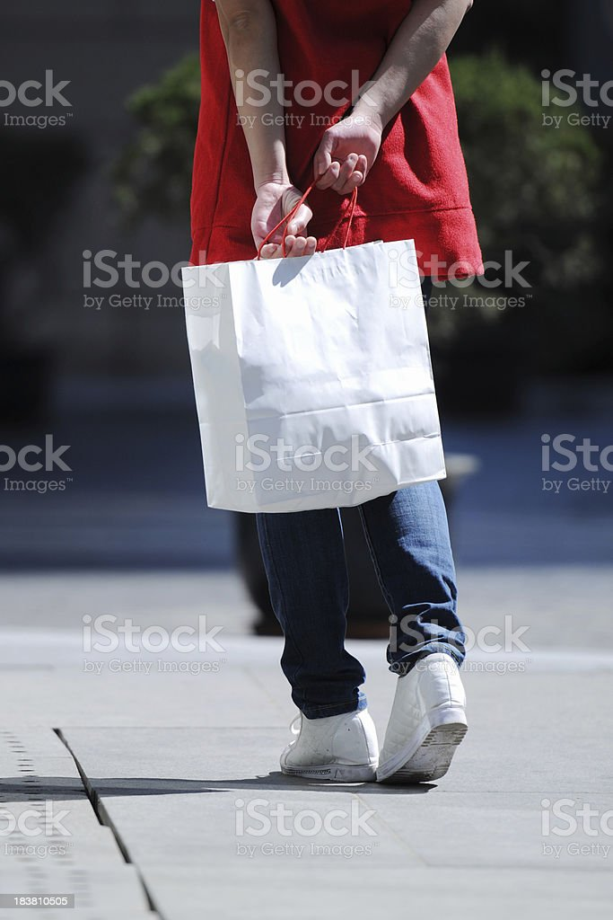Back View of Shopping Girl and Bag - XLarge royalty-free stock photo