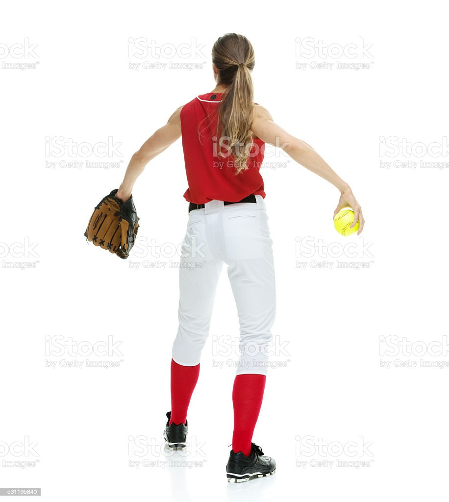 Back view of softball player stock photo