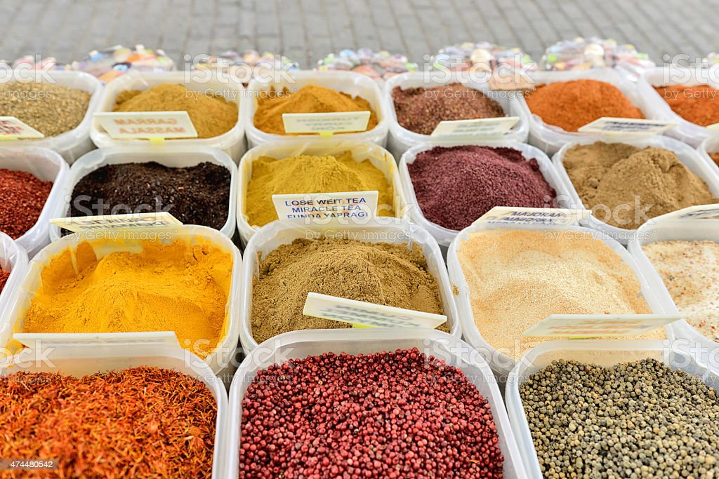Back view of spice stall stock photo