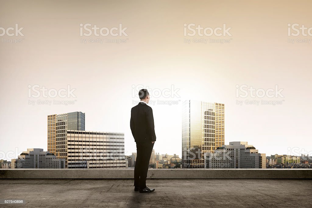 Back view of successful manager looking the city stock photo