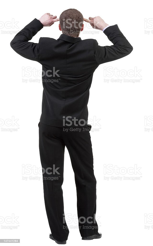 Back view of thinking business man stock photo