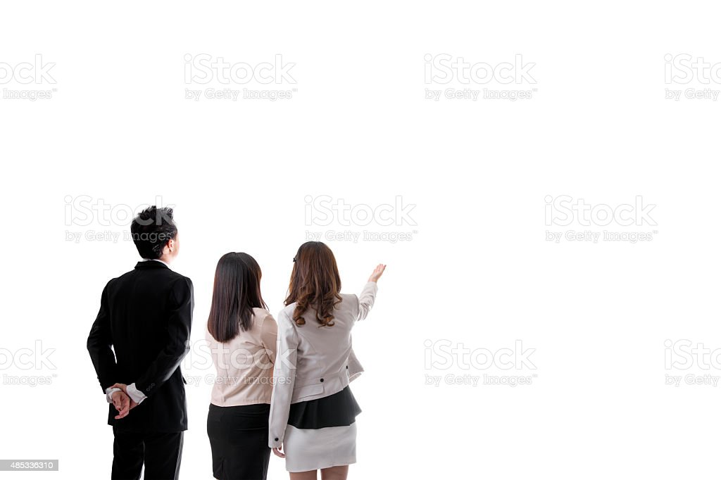 Back View of Three Asian Business People Looking Something royalty-free stock photo