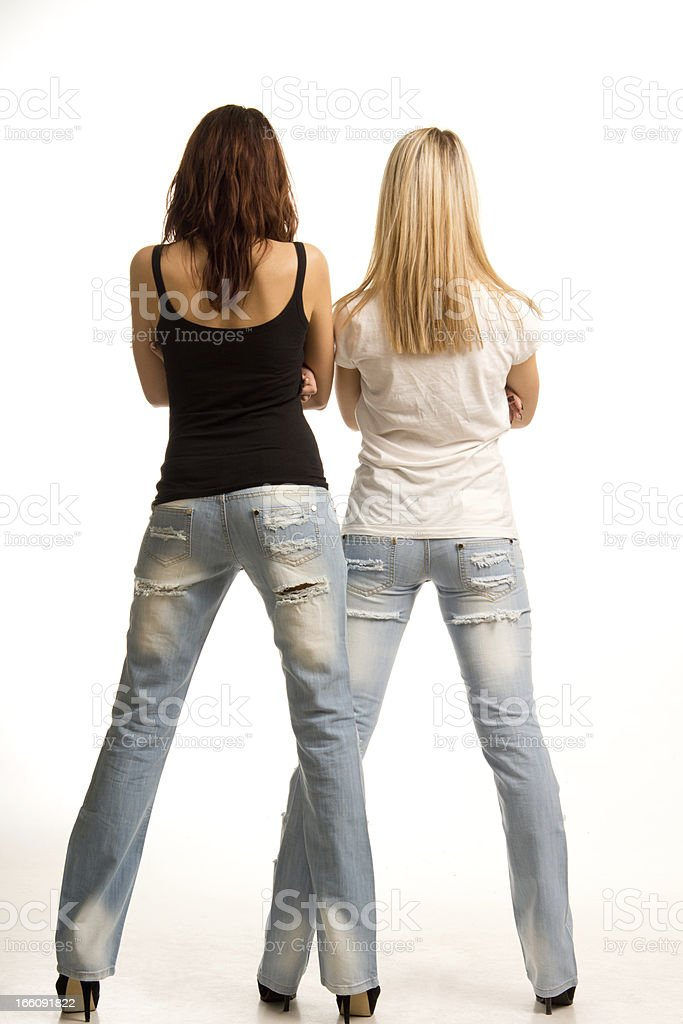 Back view of two sexy girls royalty-free stock photo