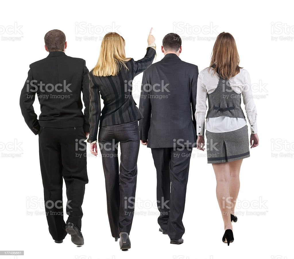 back view of walking business team royalty-free stock photo
