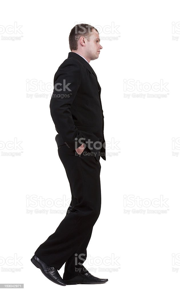 back view of walking sad businessman royalty-free stock photo