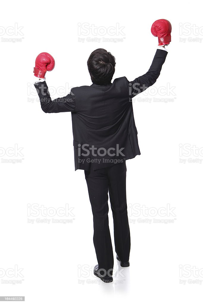 back view of win pose with boxing gloves royalty-free stock photo