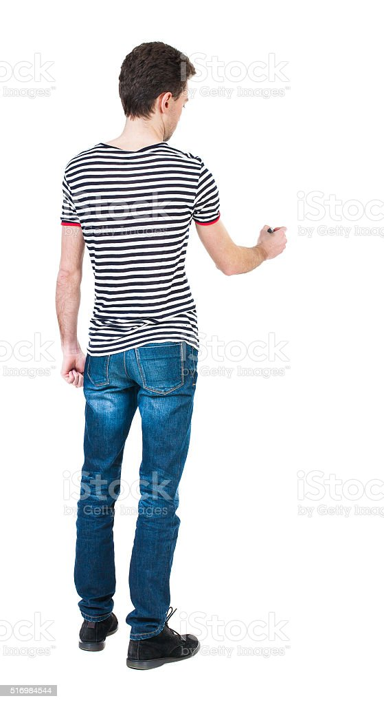 back view of writing man. stock photo