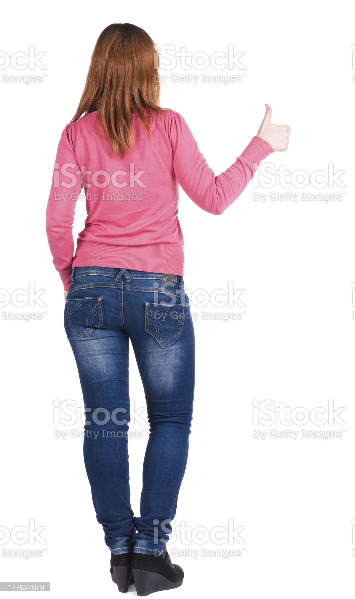 Back view of young beautiful woman royalty-free stock photo