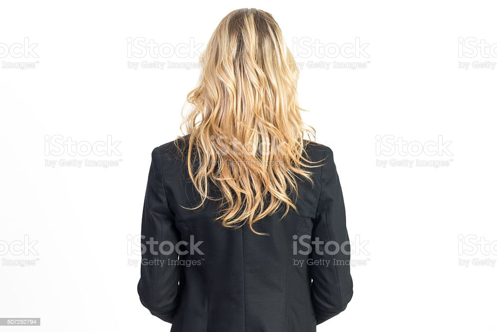 Back View of Young Businesswoman stock photo