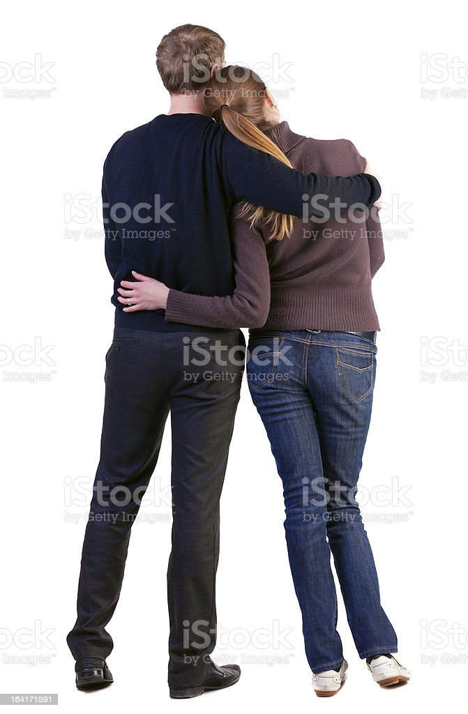 Back view of young couple (man and woman) royalty-free stock photo