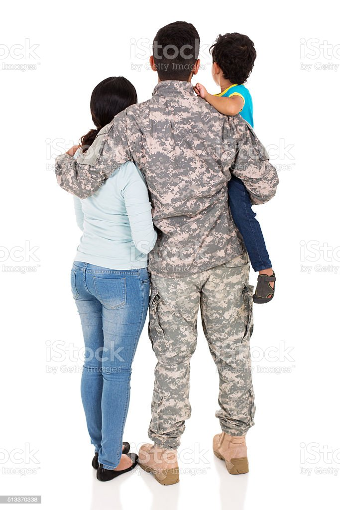 back view of young military family stock photo