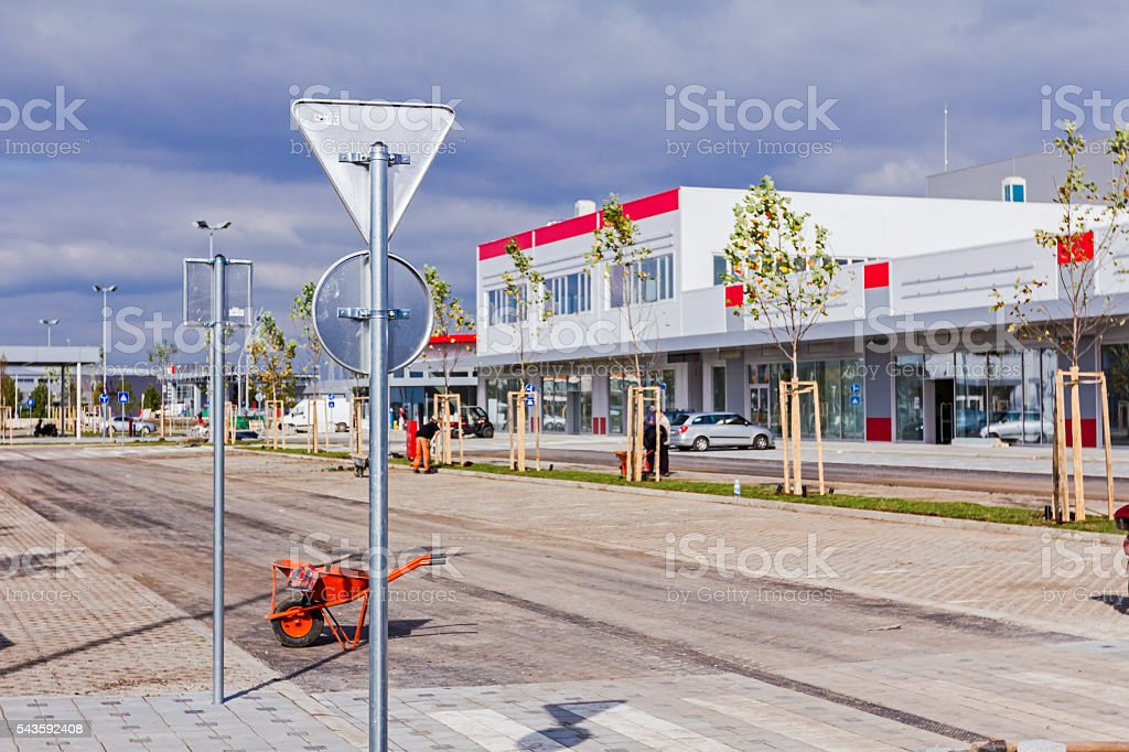 Back view on zinced road sign. stock photo
