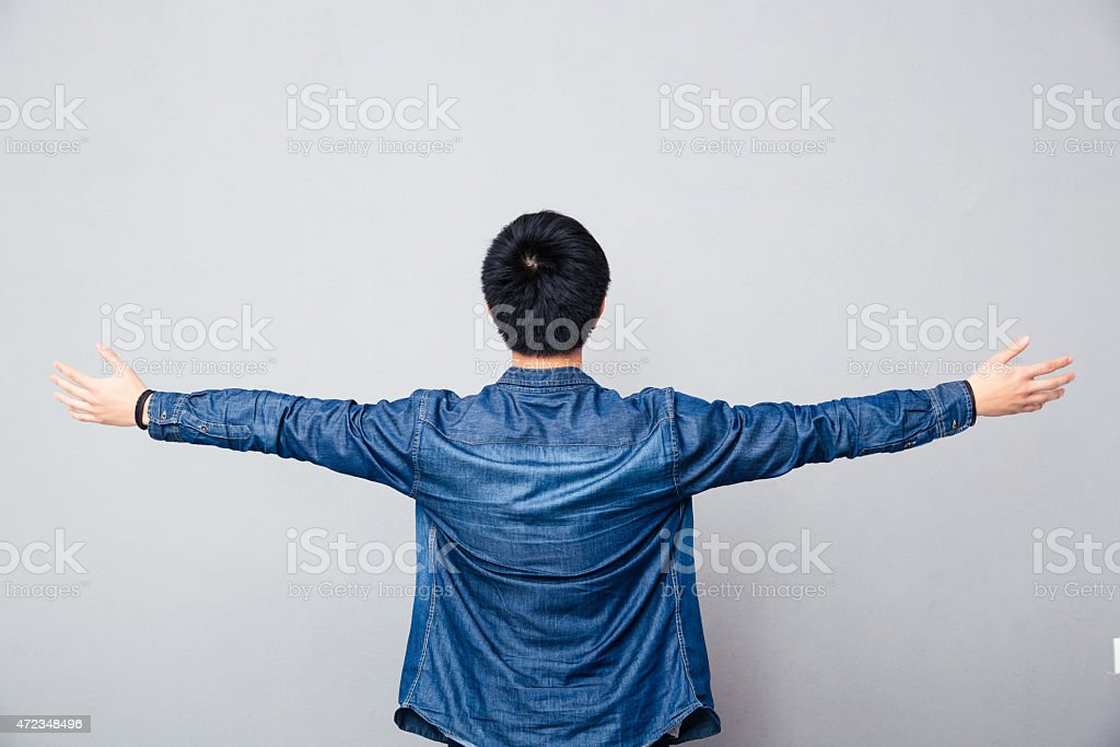 Back view portrait of asian man stock photo
