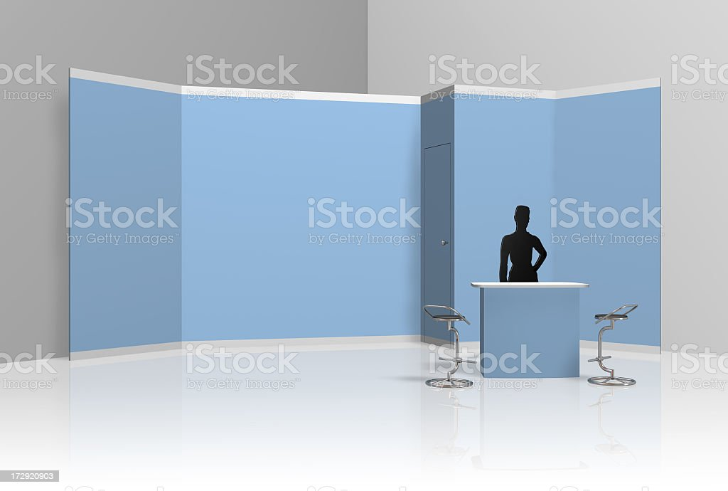 Back wall fair display with silhouette of a lady stock photo