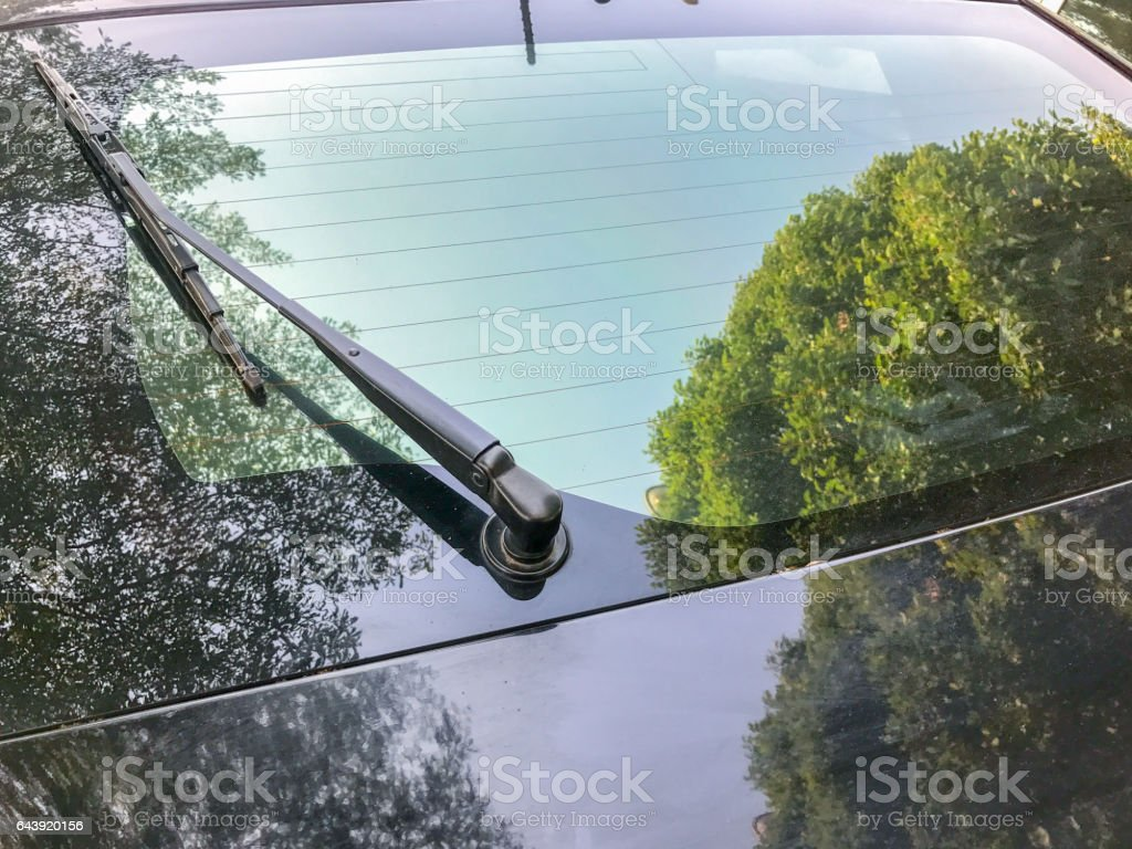 back windshield wiper of the car stock photo