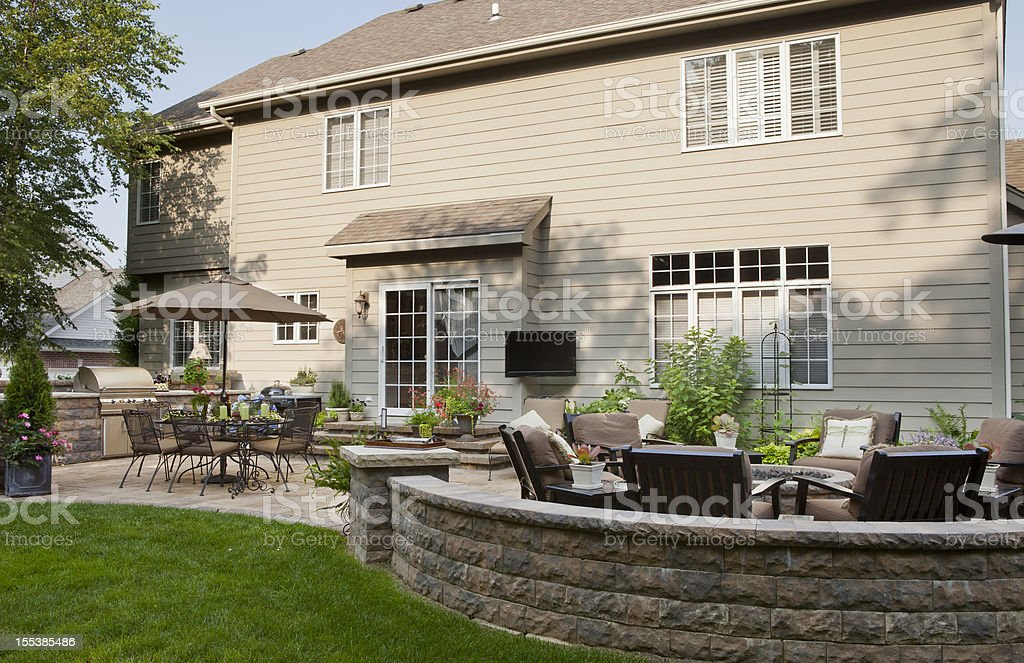 Back Yard Patio and Landscaping royalty-free stock photo