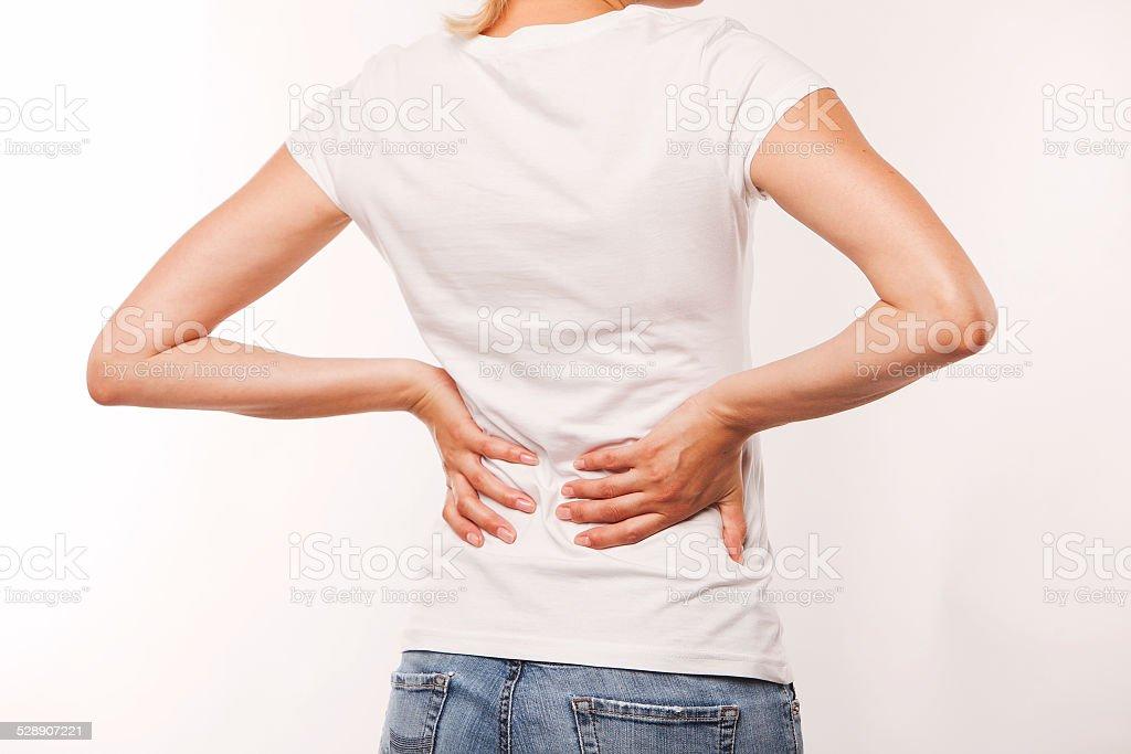 backache, white background stock photo
