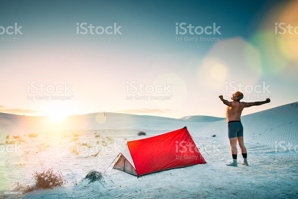 Backcountry Camping in The Desert stock photo