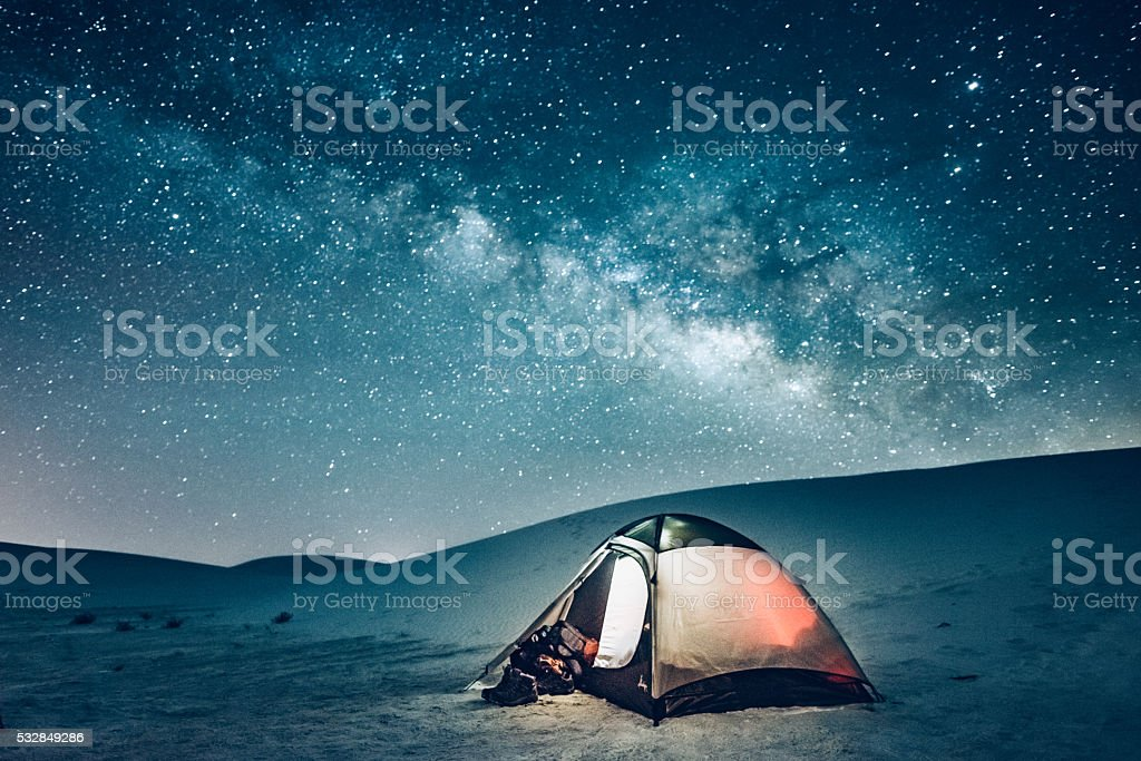 Backcountry Camping under the Stars stock photo